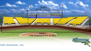 The new baseball stands are slated to open at Hardt Field on Feb. 15 when CSUB will play against the University of Nebraska. The completed facility will cost an estimated $700,000 to $1 million, paid for by private donations and a personalized seat program. (Courtesy of CSUB Sports Information)