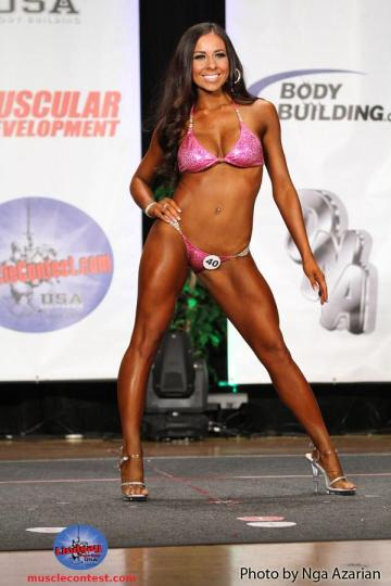 Angela Chavez poses for the judges during the National Physique Committee bikini contest. (Photo courtesy of Nga Azarian)