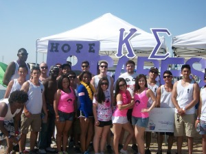 Kappa Sigma fraternity members and other CSUB students participate in the American Cancer Society's 22nd annual Relay for Life in Bakersfield on Saturday, May 4.