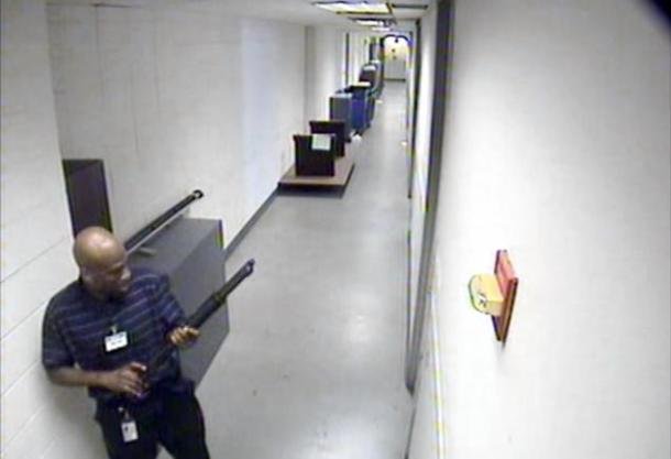 Image from abcnews.go.com Aaron Alexis,34, (shown left) holds a shotgun as his rampage in a Navy yard shooting kills 13 and wounds 13 more on Mon Sept. 16.
