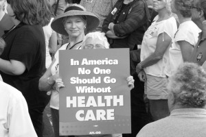 Image from http://obamacare.net Protesters show their support for ObamaCare.