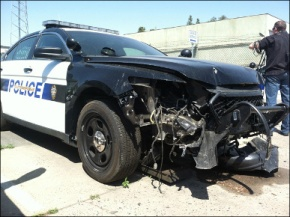 Police vehicle crashes on the Westside Parkway in Bakersfield