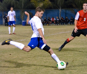 Abi Khan/The Runner Senior defender Scott Leudtke takes a shot against the Rebels on Nov. 9.