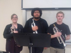 From L -R Annie Davis, 19, Music Education, Martin Mejia, 20, Music Education, and  Jeff Rogers, 19, Music Education strike a pose after their first rehearsal of Winter Quarter 2014