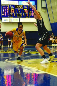 Sophomore point guard Alyssa Shannon drives the ball to the basket at the Icardo Center on Saturday.
