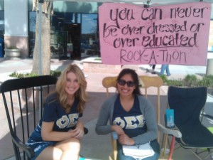(From left to right): Julia Miller, 19, Business Administration, Rosy Banda-Rodgriguez, Liberal Arts Studies, get their rock on the rocking chairs at Rock-A-Thon 2014 in the Northwest Promenade.