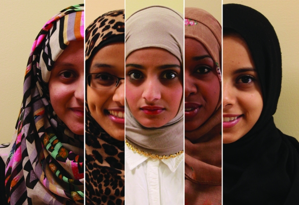 Steven Barker and Emily Cole/The Runner Muslim women have many different faces, yet face the same stereotypes. Education and awareness is paramount for more understanding of Muslim culture. From left: Hala Alnajar, Maryam Ali, Hiba Ali, Sahro Nur, Afaf Abdulla.