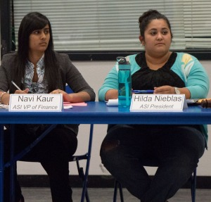 Juana Martinez/The Runner Board members Navi Kaur, VP of Finance, and Hilda Nieblas, President,  during their meeting that was held on campus inside the Student Union's multipurpose room on Friday, May 16.