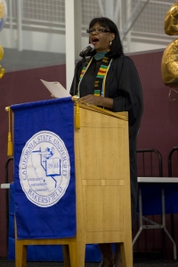 Adriana Vega/The Runner Evelyn Young sings the Black National Anthem at CSUB's annual Black Graduates Recognition Ceremony, May 31.