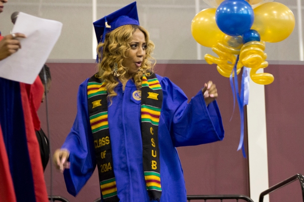 Adriana Vega/The Runner Graduating Senior, Breane Brothers celebrates after being awarded her Kente Stole at CSUB's Black Graduates recognition Ceremony in the Student Recreation Center, May 31.