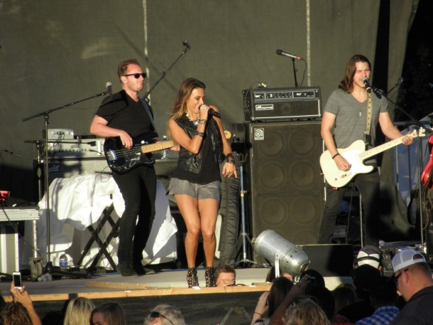Jana Kramer getting the crowd involved at the Mid State Fair in Paso Robles, Calif.