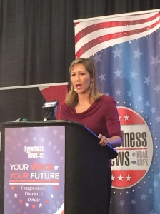 Democratic candidate for the 21st congressional district, Amanda Renteria responds to a panelist's question. (Steven Barker/The Runner).