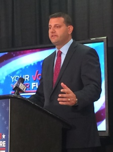 Congressman David Valadao, R-Hanford, addresses issues relevant to his constituents during a televised debate on Oct. 7. (Steven Barker/The Runner).
