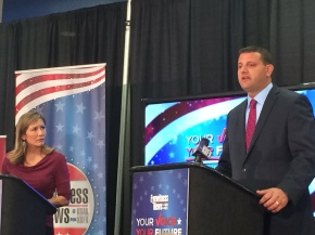 Valadao, Renteria clash in campus debate